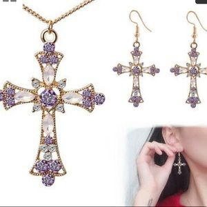 ❤️gorgeous rhinestone earring&necklace cross set